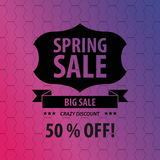 Spring sale hexagonal background. Vintage badge. Vector Royalty Free Stock Photo