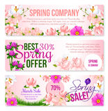 Spring sale holiday shopping vector floral banners. Spring Sale vector floral banners set for springtime holiday discount offer and shopping promotion. Design of Royalty Free Stock Photo
