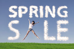 Spring sale jumping concept Royalty Free Stock Image