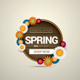 Spring sale label with beautiful flowers Stock Photo