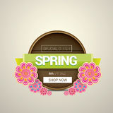 Spring sale label with beautiful flowers Royalty Free Stock Image
