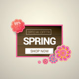 Spring sale label with beautiful flowers Stock Images
