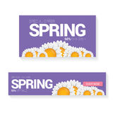 Spring sale label with beautiful flowers Stock Photos