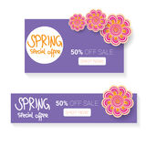 Spring sale label with beautiful flowers Stock Photography