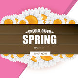 Spring sale label with beautiful flowers Royalty Free Stock Photo