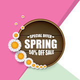 Spring sale label with beautiful flowers Royalty Free Stock Photos