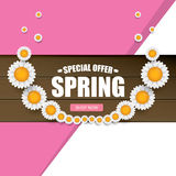 Spring sale label with beautiful flowers Royalty Free Stock Images