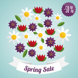 Spring sale label with flowers Stock Images