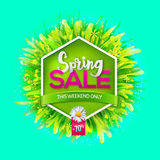 Spring sale label with green grass Stock Image