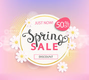 Spring sale label, 50 percent discount. Spring sale label with beautiful flower. Vector illustration template and banners, wallpaper, flyers, invitation Royalty Free Stock Photos