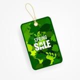Spring sale label sticker. String sale label with grean leaves. Vector illustration vector illustration