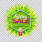Spring sale label on transparent background Royalty Free Stock Photography