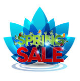 Spring sale message on a blue flower Royalty Free Stock Images