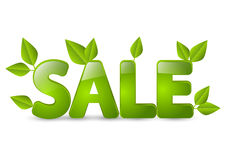 Spring sale message with leaves. Spring sale message with green leaves Royalty Free Stock Photo