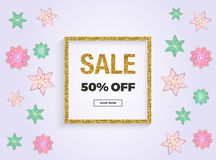 Spring sale, Mother`s Day or 8th of March banner with pink and green flowers, gold glitter texture. Template for online shopping, vector illustration