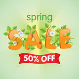 Spring Sale 50% Off. Spring season sale fifty percent off. Discount decorated with floral elements Stock Photography