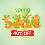 Spring Sale 40% Off. Spring season sale forty percent off. Discount decorated with floral elements royalty free illustration