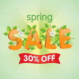 Spring Sale 30% Off. Spring season sale thirty percent off. Discount decorated with floral elements Stock Photography
