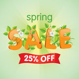 Spring Sale 25% Off. Spring season sale twenty-five percent off. Discount decorated with floral elements Stock Photography
