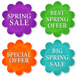 Spring sale and offer in four colors flowers labels Royalty Free Stock Photos