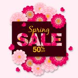 Spring sale offer 50% Off Promotional banner background with colorful flower royalty free illustration