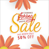 Spring Sale orange flower 50 percent off heading design for bann Royalty Free Stock Image