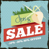 Spring Sale with a Orchid in Retro Advertising Design, Vector Illustration royalty free stock images