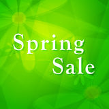 Spring sale over green background with flowers Stock Photos