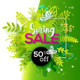 Spring sale with paper art Stock Images