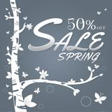 Spring sale paper and tree. Leaves. Butterfly. white on Dark gra Stock Image