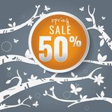 Spring sale paper and tree. Leaves. Butterfly. white on Dark gra Stock Images