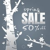 Spring sale paper and tree. Leaves. Butterfly. white on Dark gra Stock Photos