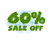 Spring sale 60 percent off. Letters and figures from maple leaves on a heavenly background with the effect of bokeh and. Spring sale 60 percentoff. Letters and Stock Illustration