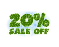Spring sale 20 percent off. Letters and figures from maple leaves on a heavenly background with the effect of bokeh and. Spring sale 20 percentoff. Letters and Royalty Free Stock Images