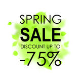 Spring sale placard template for card, placard, flyer, banner, brochure. Green blurred leafs on white background. Stock Photography