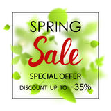 Spring sale placard template for card, placard, flyer, banner, brochure. Green blurred leafs on white background. Royalty Free Stock Photo