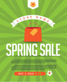 Spring Sale poster, ad, banner, web page design. Stock Image