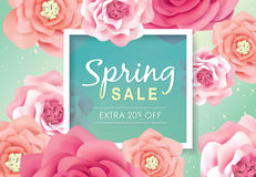 Spring sale poster. With beautiful blossom flowers Royalty Free Stock Photography