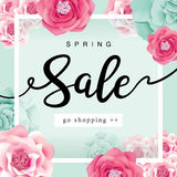 Spring Sale Poster. With beautiful flowers background Royalty Free Stock Images
