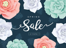 Spring Sale Poster. With beautiful flowers background Royalty Free Stock Image