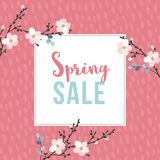 Spring sale poster with blossoming cherry tree branches. Seasonal business concept. Vector illustration backgrouns. Flat. Spring sale poster with blossoming Stock Photo