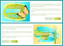 Spring Sale Poster Discount Color Butterflies Web royalty free illustration