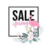 Spring sale poster. Flamingo bird with palm leaves, magnolia flowers and eucalyptus leaves, web banner, background Royalty Free Stock Images