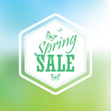 Spring sale poster with hexagonal badge royalty free illustration
