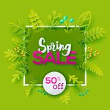 Spring sale paper art cut out concept Royalty Free Stock Photos