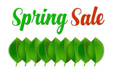 Spring Sale Poster With Leaf Royalty Free Stock Image