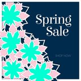 Spring Sale Poster with Paper Flowers. Floral Postcard or Banner. Paper cut design template. Vector illustration Royalty Free Stock Photography