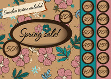 Spring sale poster with seamless texture. Royalty Free Stock Photography