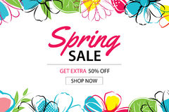 Spring sale poster template with colorful flower background.Can. Be use voucher, wallpaper,flyers, invitation, brochure, coupon discount Stock Photo
