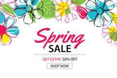 Spring sale poster template with colorful flower background. Can be use voucher, wallpaper,flyers, invitation, brochure, coupon discount Royalty Free Stock Photo